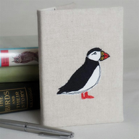 A6 Notebook Journal Fabric  Puffin Handmade Nature Wildlife Coastal Bird