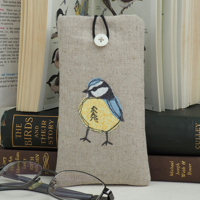 Glasses Spectacles Case Mothers Day Handmade Blue Tit Nature Wildlife