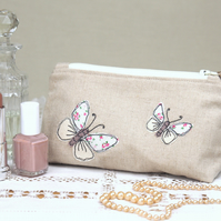 Make Up Bag Cosmetics Bag Handmade Butterfly Nature Wildlife