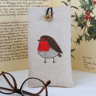 Glasses Spectacles Case Robin Handmade Nature Wildlife Linen