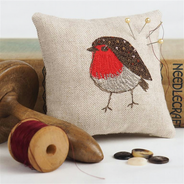 Pin Cushion Robin Wildlife Nature Bird Freehand Machine Embroidered Mothers Day