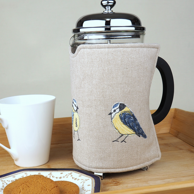 Cafetiere Cosy Blue Tit Nature Freehand Machine Embroidery