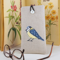 Glasses Spectacles Case Handmade Blue Tit Nature Wildlife Fathers Day