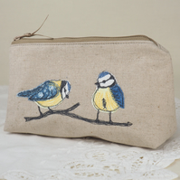 Make Up Bag Cosmetics Bag Handmade Blue Tit Nature Wildlife Bird