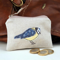 Purse Coin Cosmetic Camera Accessory Blue Tit Nature Bird