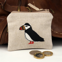 Purse Coin Cosmetic Camera Accessory Puffin Nature Bird Seabird Coastal