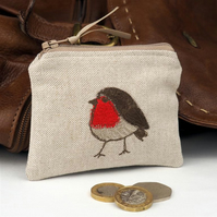 Purse Coin Cosmetic Camera Accessory Robin Nature Bird