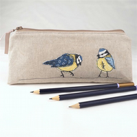 Pencil Case Pouch Handmade Blue Tit Nature Wildlife