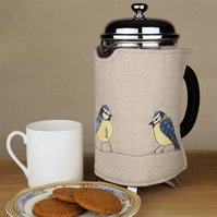 Cafetiere Cosy Blue Tit Nature Freehand Machine Embroidery Fathers Day