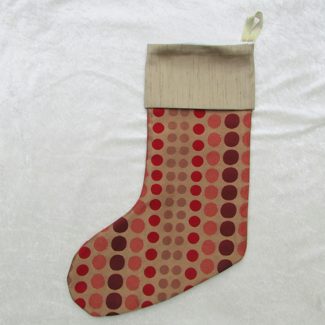 Large spotted Christmas stocking with gold cuff
