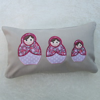 Russian dolls appliqued rectangular cushion