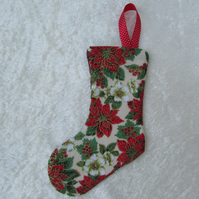 Small cream, green and red Christmas floral print stocking tree decoration