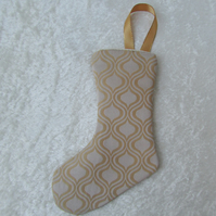 Small cream and gold abstract pattern Christmas stocking tree decoration