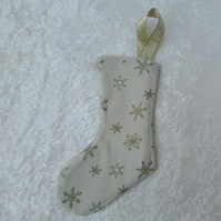 Small cream and gold snowflake print Christmas stocking tree decoration