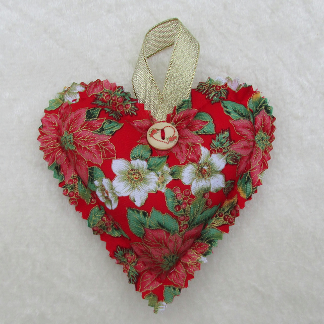 Hanging heart Christmas tree decoration - red, cream, green and gold fabric