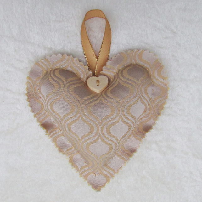 SALE - Shabby chic gold fabric hanging heart decoration