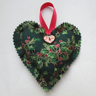 Green Christmas holly print hanging heart decoration