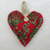 Red holly print hanging heart Christmas decoration