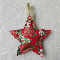Red Christmas floral print hanging star decoration