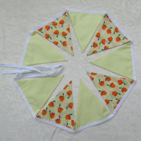 Lemon yellow polka dot and orange roses bunting