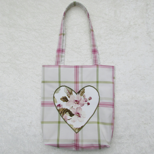 Pastel Checked Shabby Chic Appliqued heart tote bag