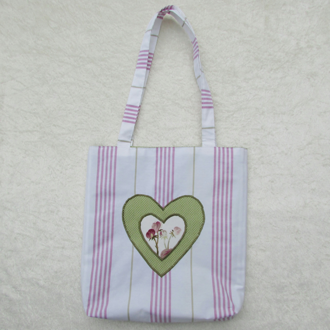 Candy striped Tote bag with double appliqued heart
