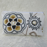 White, black, gold and grey floral and bird cosmetic bag
