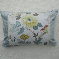 Duck-egg blue cushion with vintage style floral panel
