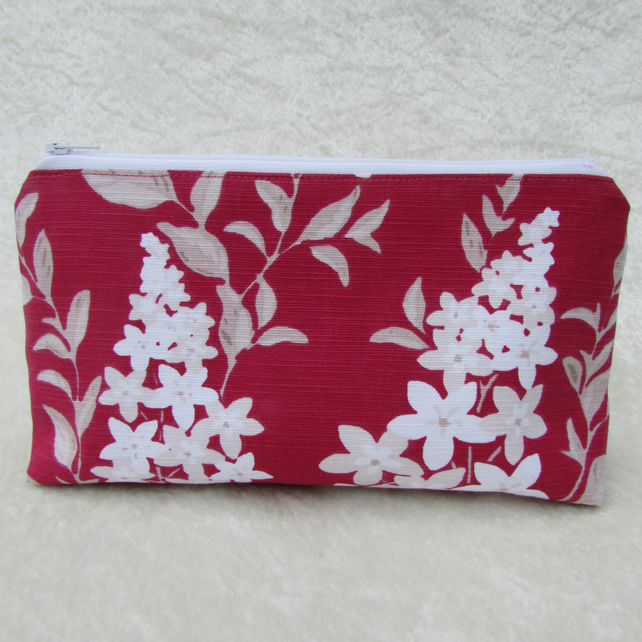 Pink and white floral cosmetic bag