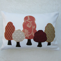 Autumn trees rectangular appliqued cushion