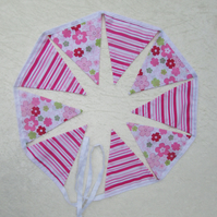 Pink striped and floral bunting
