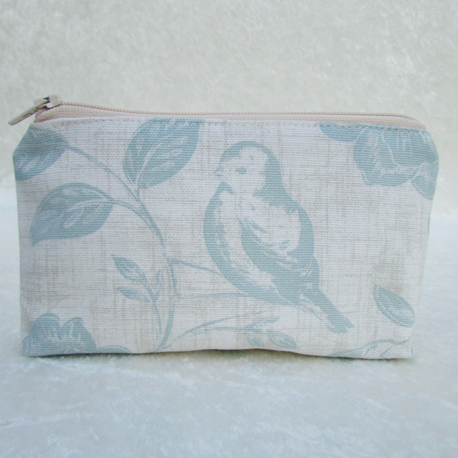 Large purse with bird in pale duck-egg blue