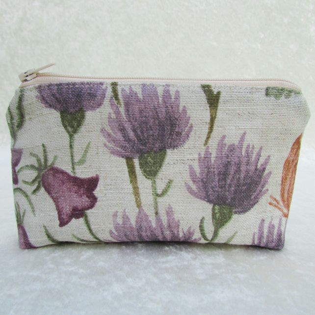 Large purse in cream with purple thistles