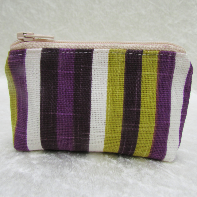 Striped small purse in purple, lime green and white
