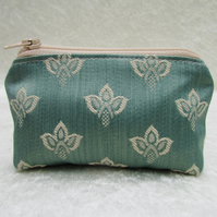 Small purse - Duck-egg blue with cream woven pattern
