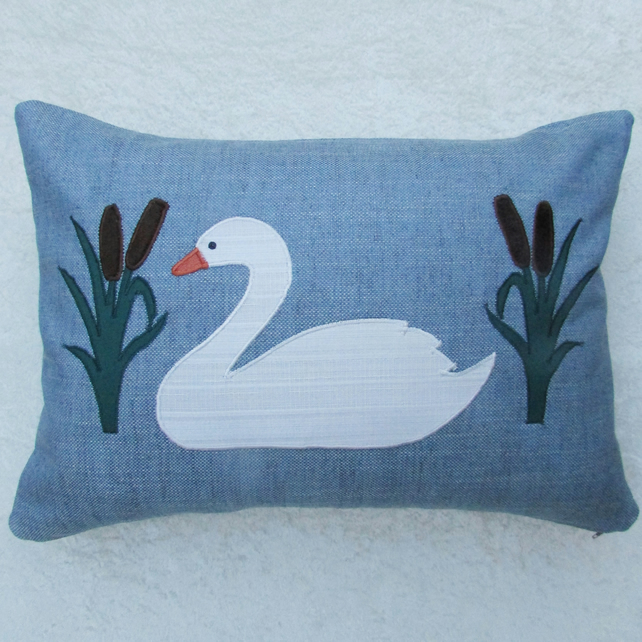 Swan and bulrushes applique cushion