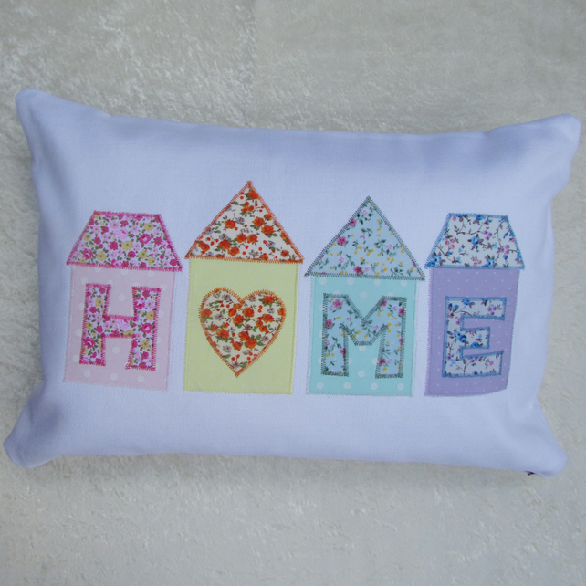 Pastel floral houses HOME applique cushion