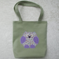 Owl tote bag - Pale green with cream, lilac, pink and blue applique owl