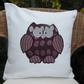Owl cushion - Cream with plum purple and silver owl