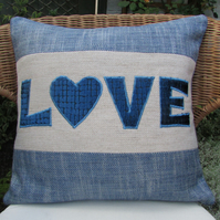 SALE - Blue and cream LOVE appliqued cushion