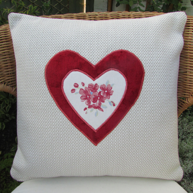 SALE - Cream and red heart applique cushion