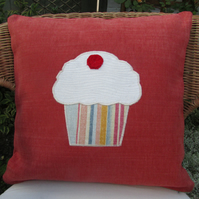 SALE - Cupcake appliqued red-orange cushion