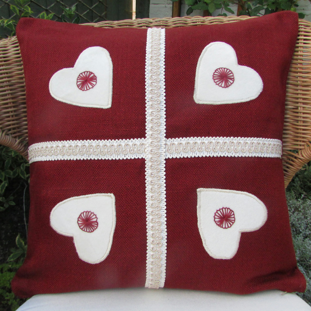 SALE - Red and cream hearts applique cushion