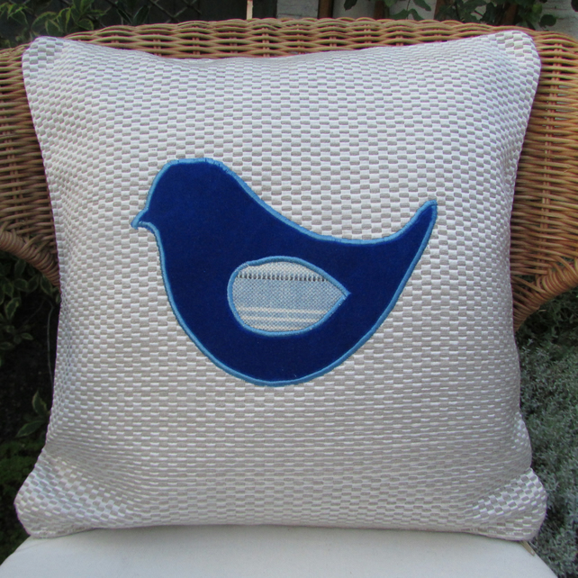 SALE - Blue bird appliqued cushion