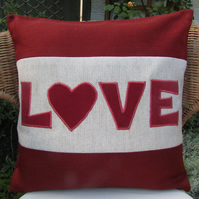 "SALE - Red ""Love"" appliqued cushion"