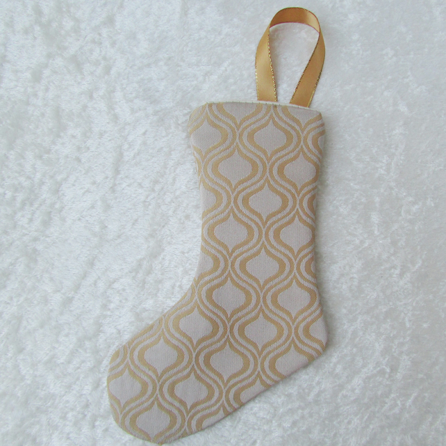 SALE - Gold and cream abstract pattern small Christmas stocking tree decoration
