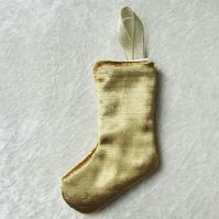 Gold velvet small Christmas stocking tree decoration