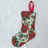 Small Christmas stocking tree decoration - cream, green, red and gold flowers