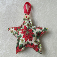 Cream, green and red Christmas floral print hanging star decoration