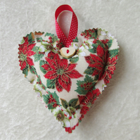 Cream, green and red Christmas floral print hanging heart decoration